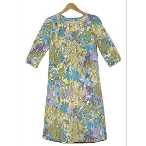 Vintage 60s 70s Dress Small Mod Floral 3/4 Sleeve